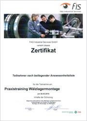 certifikát montáž demontáž ložisek FAG